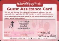 Disney guest assistance card