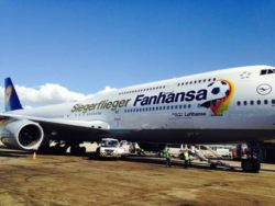 Germany's World Cup heroes fly home in special Lufthansa long-haul airplane