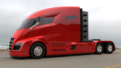 Nikola electric truck red